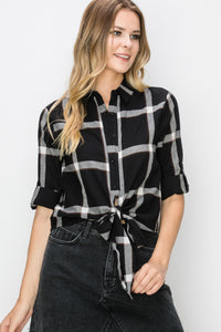 Black Plaid Tie Front Detail