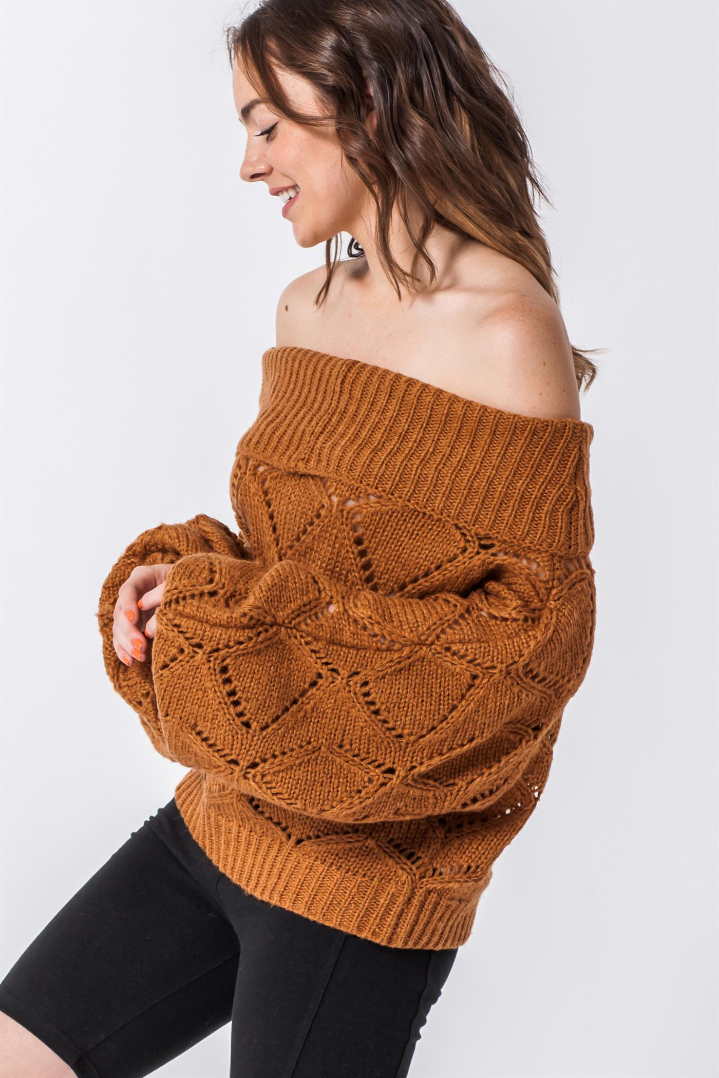 Brown Off the Shoulder Sweater