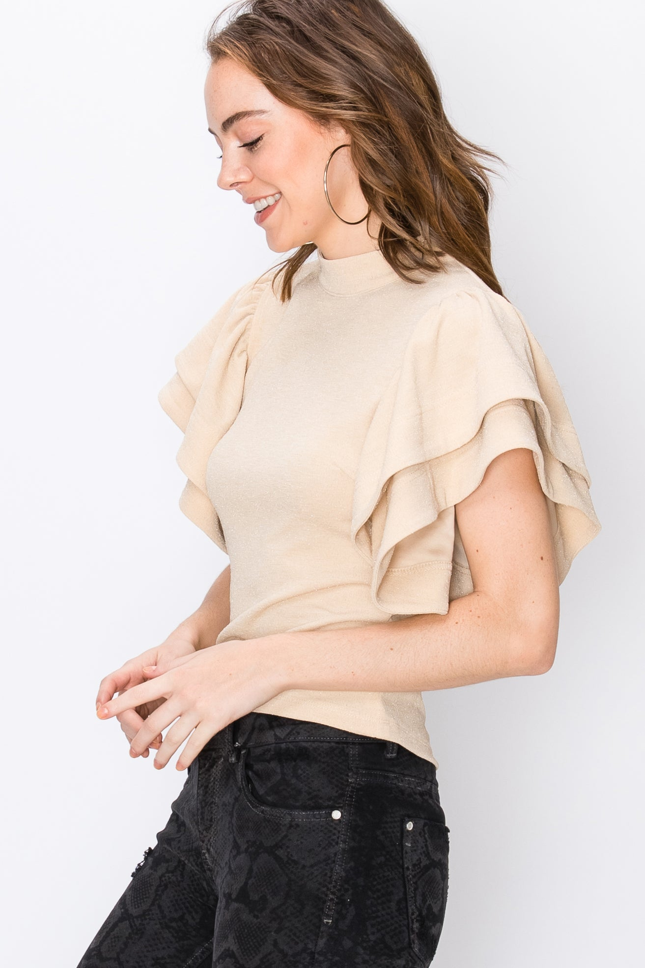 Ivory Ruffle Sleeve Top