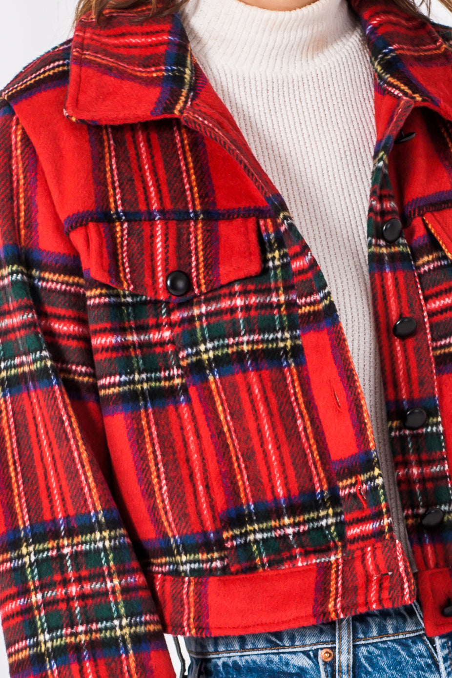 Red Button Down Plaid Jacket--0099