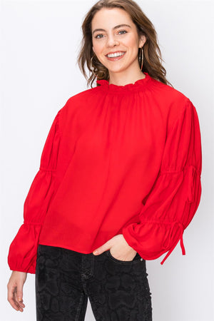 Red Ruffle Neck Blouse