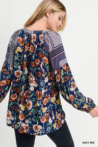 Navy Floral Mix Print Long Sleeve