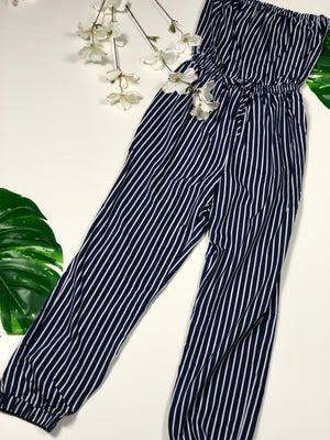 Striped Tube Jumpsuit--01023
