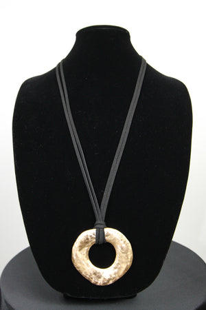 Necklace Gold Hammered Circle Pendant on Black Suede