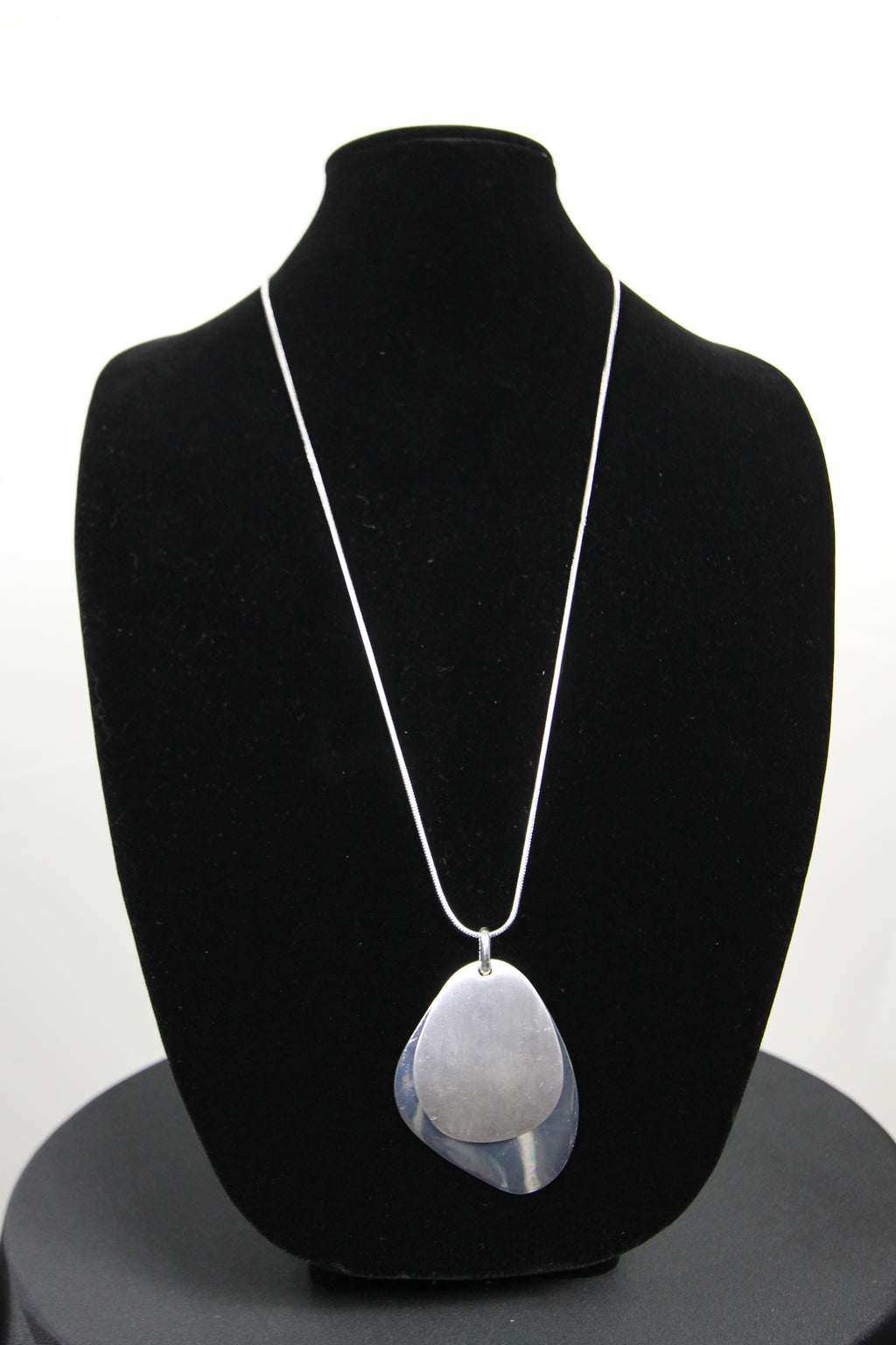 Necklace Brushed and Shiny Silver Pendent with Silver Snake chain Necklace