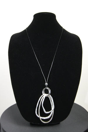 Silver Multi Hammered Oval on Black Cord