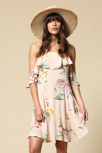 Blush Floral Strapless Dress