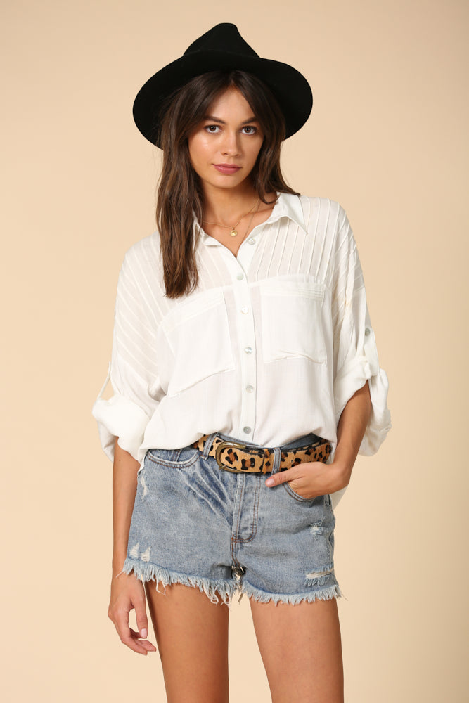 Off White Pleated Shoulder Tunic top with Pockets and Button front