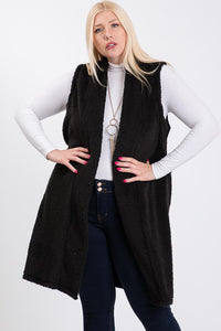 Plus Size-Black Sherpa Fur Open Front--0093