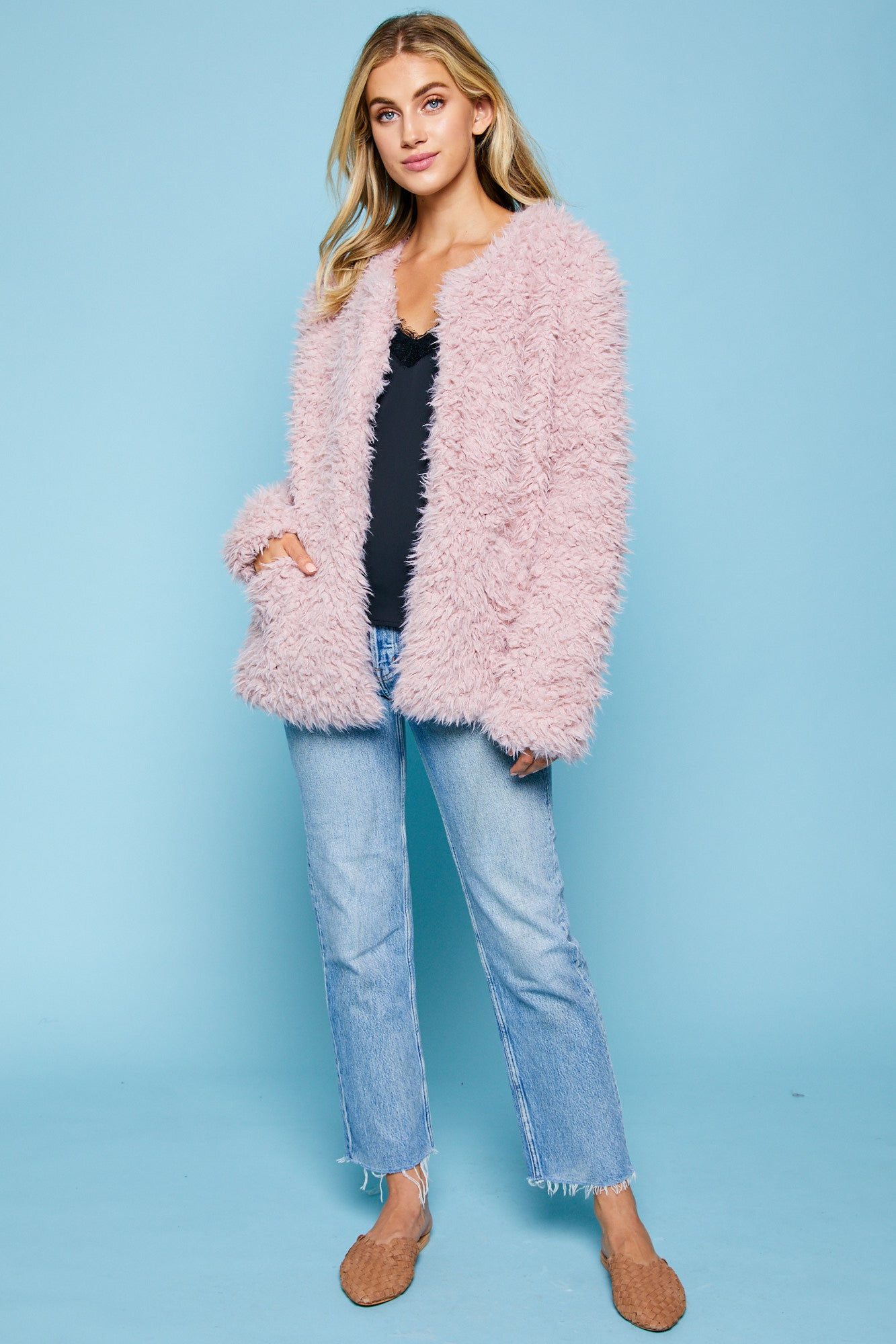 Pink Soft Faux Fur Jacket with Pockets--0088