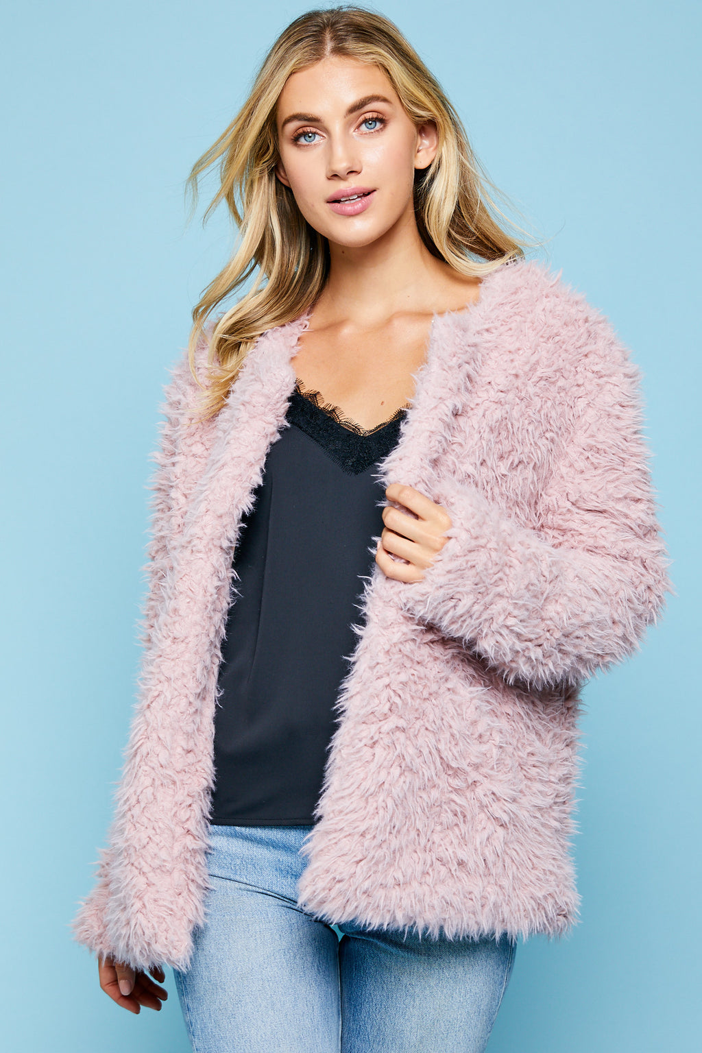 Pink Soft Faux Fur Jacket