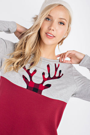 New Color Block Peeking Reindeer Burgundy--062