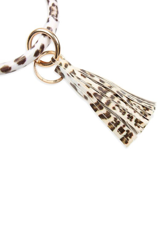 Leopard Leather Tassel Key Ring Bracelet