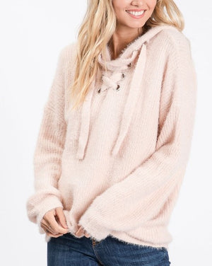 Faux Fur Sweater Hoodie/ Lace Up Detail