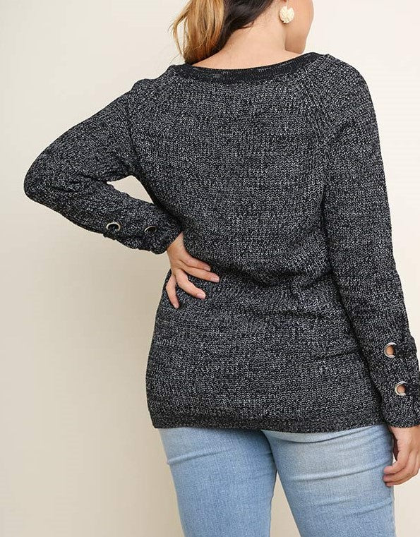 Black Sweater with Drawstring Detail