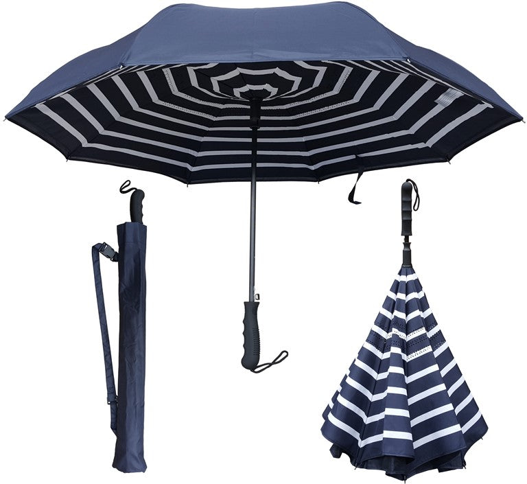 "Umbrella (Navy) - 46"" Auto-Open Inverted/Inside out Umbrella"