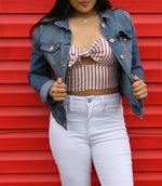 Red Striped Crop Top