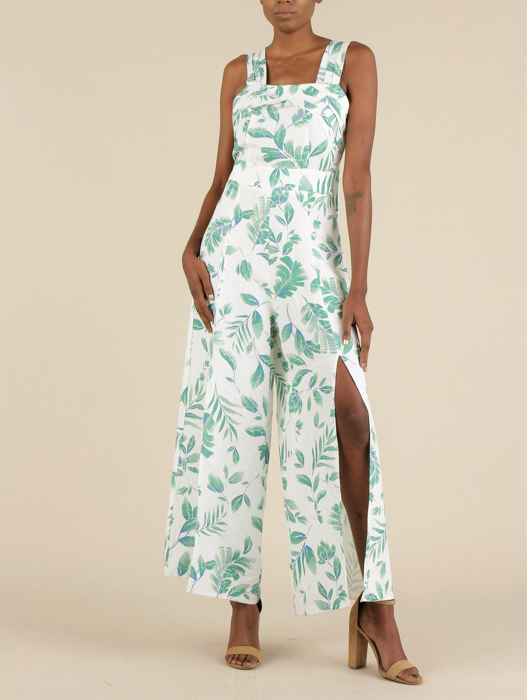 Sleeveless Tropical Jumpsuit