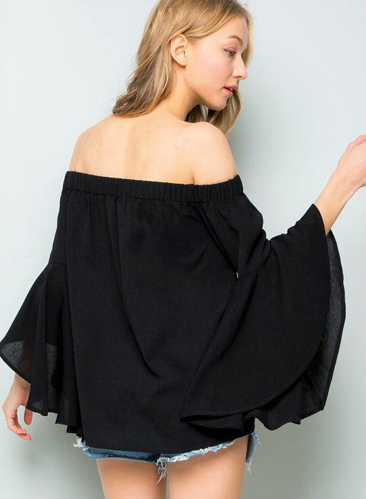 Bell Sleeves off the Shoulder Top-001