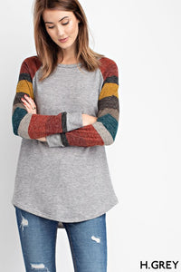 Long Sleeve Solid Body Striped Top