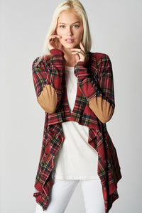 Plaid hi-lo Cardigan Open front/Elbow Patches--0089