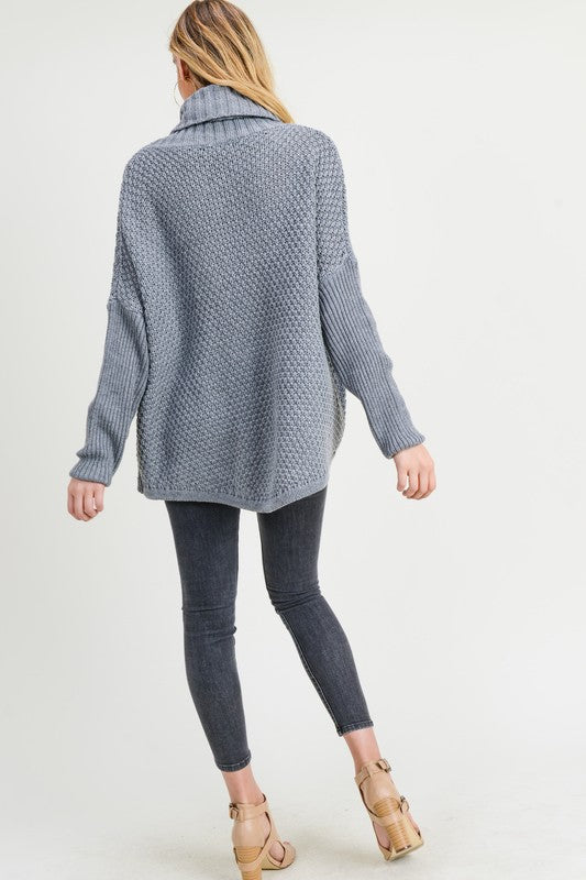 Chunky Knit Pullover with Cowl Neck-029