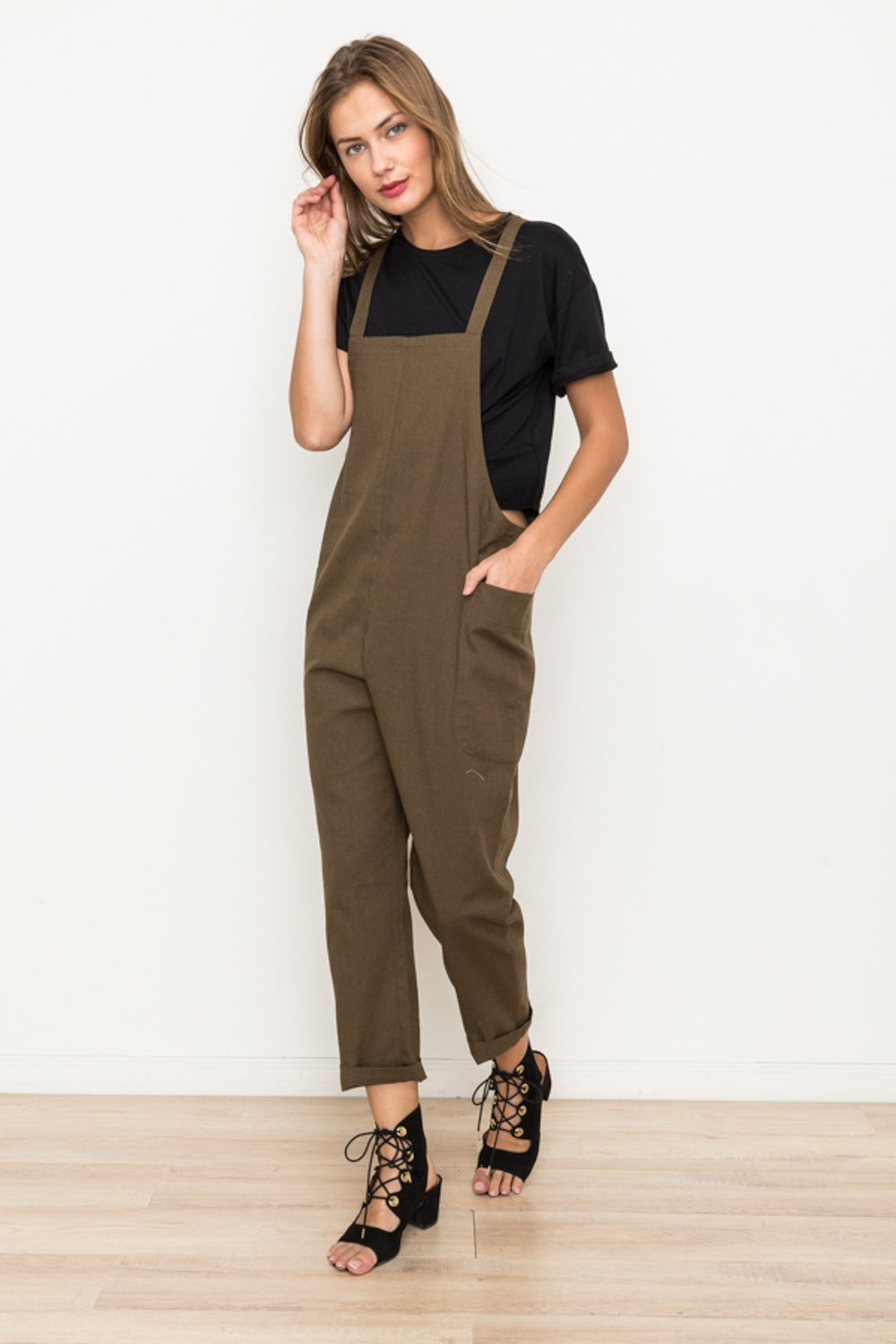 Cross Back Jumpsuit with Pocket—032