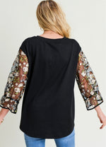Embroidered Sleeves Top