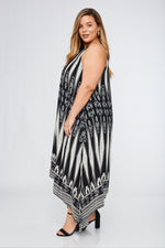 Sleeveless Aztec Printed Dress (Plus Size Only)--01007