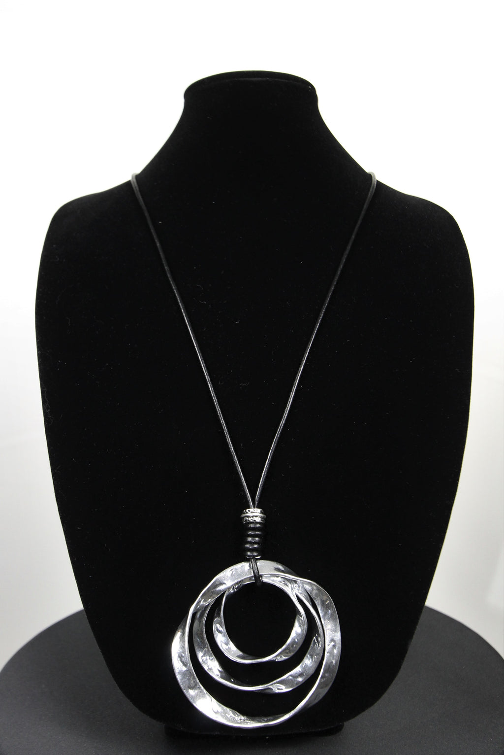 Silver Multi Hammered Open Circle on Black Cord