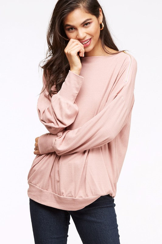 Pink Rib Knit Top with Zipper Detail