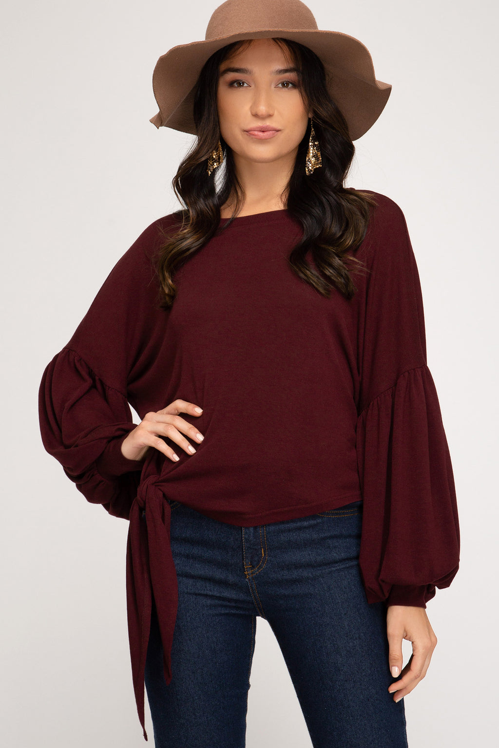 Wine Puff Sleeve Knit Top