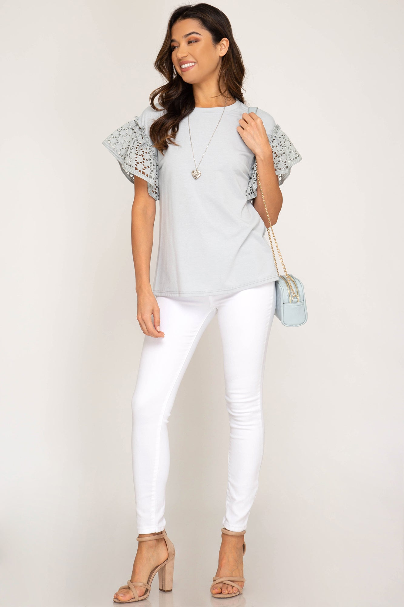 Ruffled Short Sleeve Top with Eyelet Lace