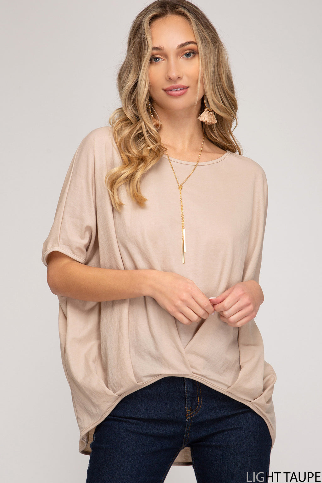 Drop Shoulder Knit Top with Pleated Front Hem