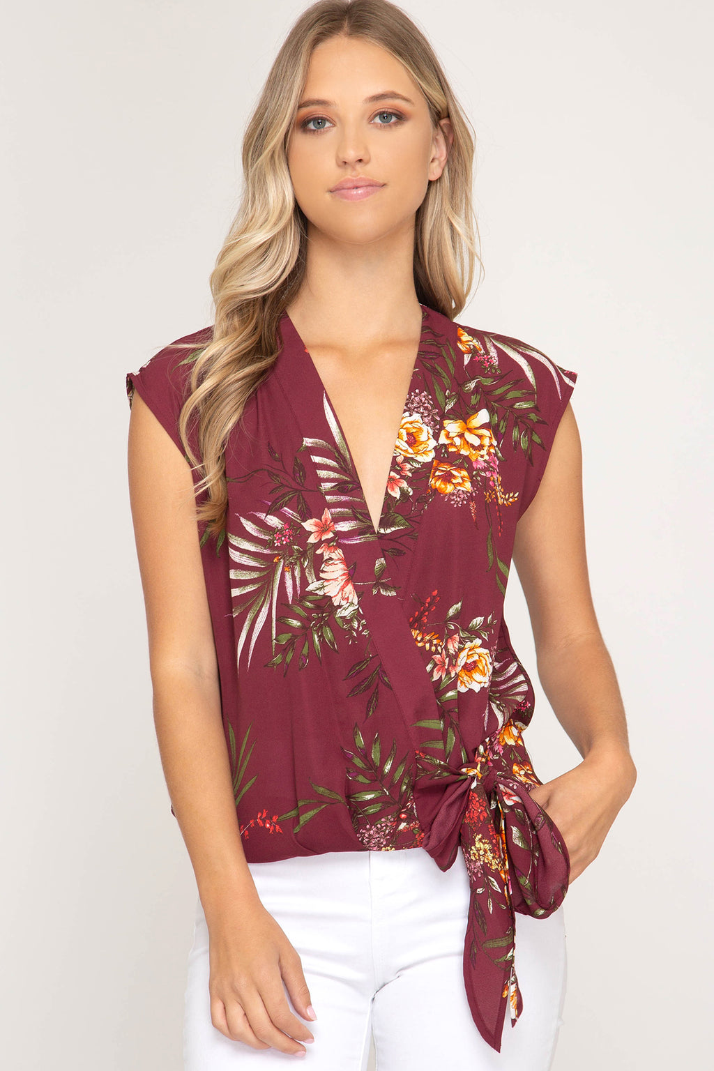 Sleeveless Woven Floral Print Top with Side Tie Detail