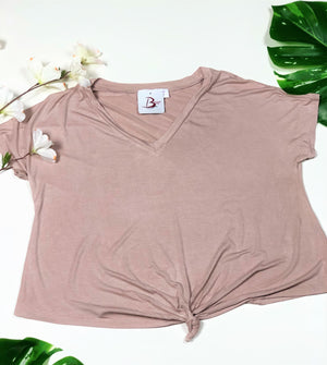 Short Sleeve V-Neck Crop Top--01006