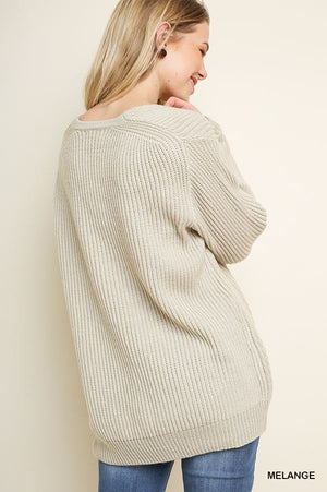 New-Beige Ribbed Long Sleeve Pullover Sweater--0073