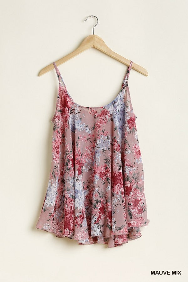 Natural Spaghetti Strap Floral Top