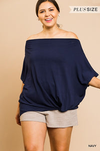 Navy Short Sleeve Off Shoulder Top XL-2XL--Coming Soon!