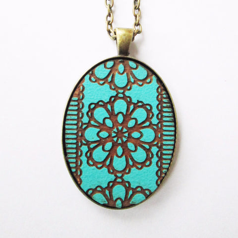 Teal Lace Pendant