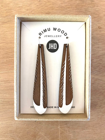 Piwakawaka (Fantail) tail feather earrings - Julia Huyser Design