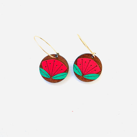 Rimu Pohutukawa flower earrings - Julia Huyser Design