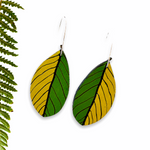 Pohutukawa leaf Rimu earrings - Julia Huyser Design