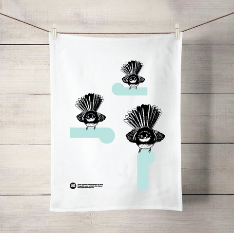 3 Fantails on Koru tea towel - Julia Huyser Design