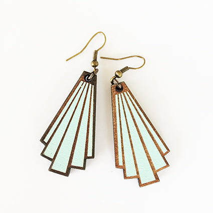 Aqua deco Rimu Wood Earrings - Julia Huyser Design