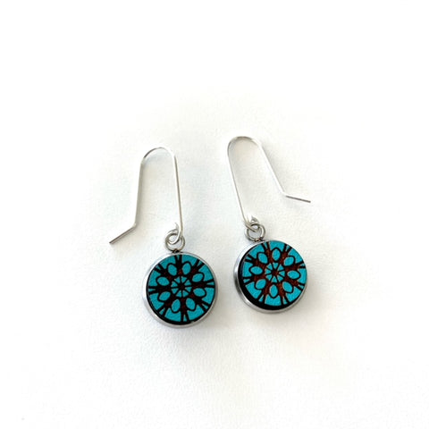 Teal Lace Earrings - STERLING SILVER - Julia Huyser Design
