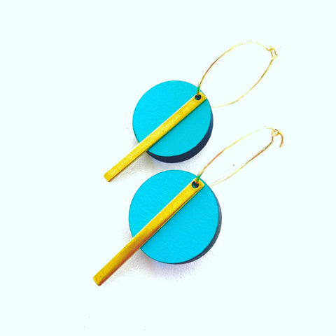 Teal Circle Bar earrings - Julia Huyser Design
