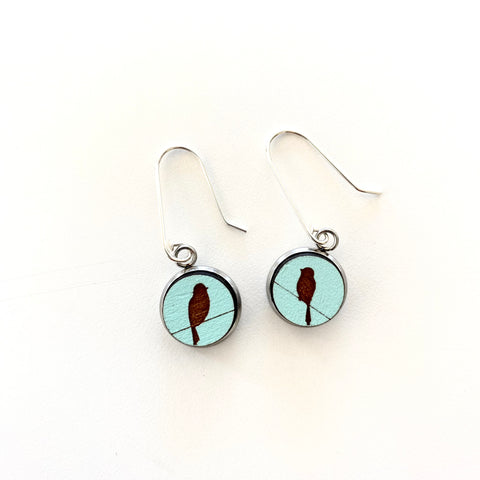 Rimu Birds on a Wire Earrings - STERLING SILVER - Julia Huyser Design