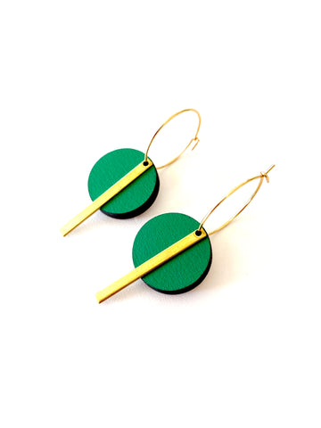 Green Circle Bar earrings - Julia Huyser Design