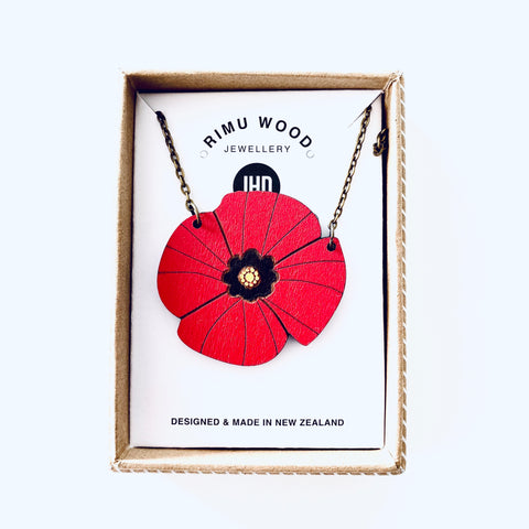 Rimu ANZAC Poppy Necklace - Julia Huyser Design
